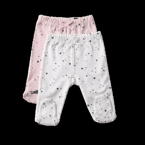 שני זוגות מכנסיים PC גוון מלאנז' ורוד לגילאי 0-3 | טקסטיל | ביגוד ראשוני | מכנסיים