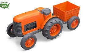 ליין ירוק טרקטור (עם עגלה) | צעצועי התפתחות | כלי תחבורה