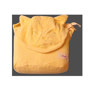 מגבת רחצה עם קשירה לצוואר גוון בננה חתול | זמן אמבטיה | מגבות רחצה | מגבות קשירה לצוואר