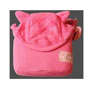 מגבת רחצה עם קשירה לצוואר גוון ורוד חתול | זמן אמבטיה | מגבות רחצה | מגבות קשירה לצוואר