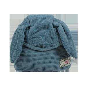 מגבת רחצה עם קשירה לצוואר גוון ג'ינס | זמן אמבטיה | מגבות רחצה | מגבות קשירה לצוואר