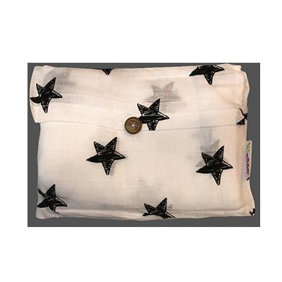 שמיכת תולי גוון לבן כוכבים שחורים | טקסטיל | שמיכות | שמיכות תולי | מיננה