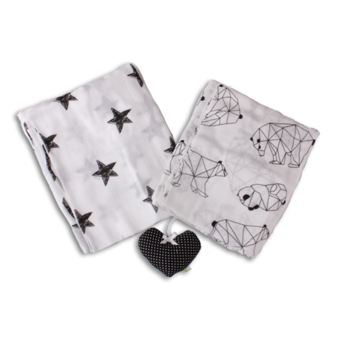 זוג שמיכות תולי גוון שחור לבן דובים +כוכבים | טקסטיל | שמיכות | שמיכות תולי